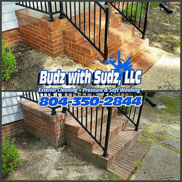 Safely Power Washing Brick stairs in Henrico Virginia