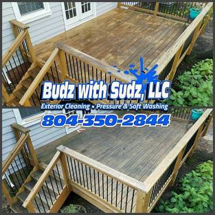 Power Washing this wood deck in Chester Virginia