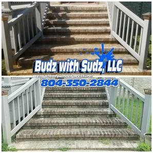 Power Washing these stairs in Hopewell Virginia